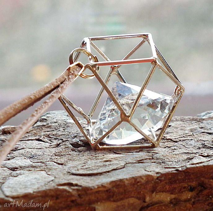 Uwięziony kryształ- naszyjnik szkło skóra naturalna naszyjniki
