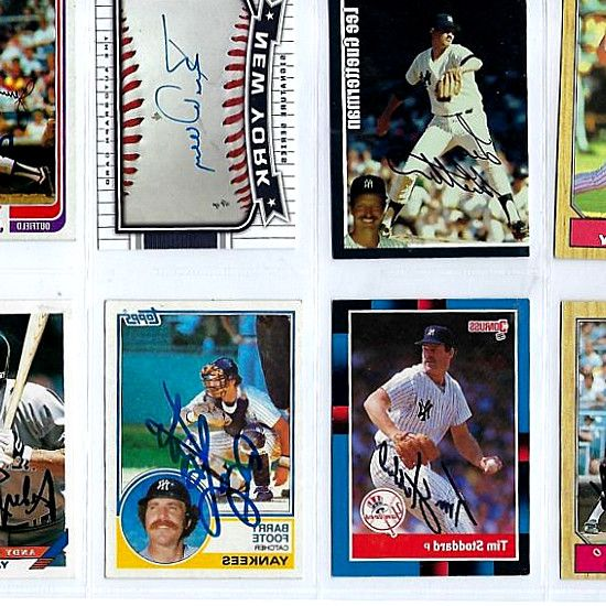 AUTO SIGNED BASEBALL LOT NEW YORK YANKEES 1962-68. set alongside. legends/greats of the game. mickey mantle-whitey. 2003 Upper Deck New York Yankees Autographed Baseball Cards 8 Different Lot. Shop for New York Yankees trading cards: box sets, logo cards, Topps, Fleer. Lot of (100) 1994 Megacards Ruthian Shots  1 Babe Ruth Pitcher for Red Sox. Derek Jeter 2012 Panini Button Gold Signed AUTO PSA/DNA MINT 8 STEINER 1/1. Whether searching for a card for a specific Yankees legend or a lot of…