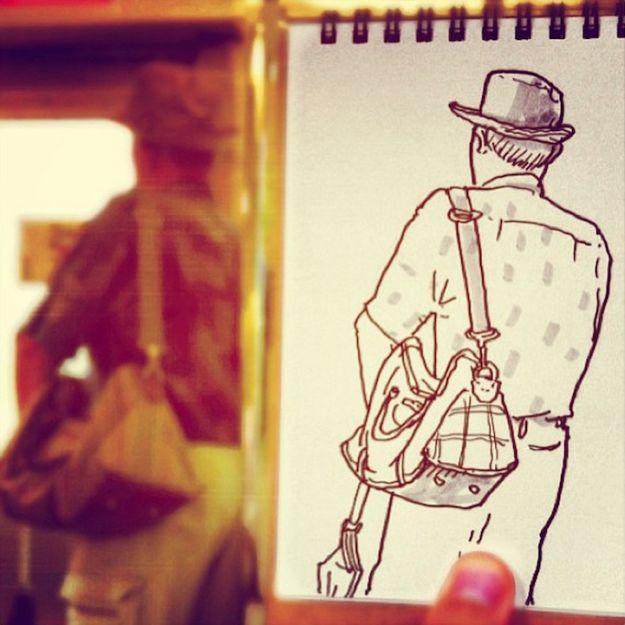 Ele pega o caderno de esboços e desenha pessoas em situações cotidianas HamaHouseSpeedSketches12 640x640
