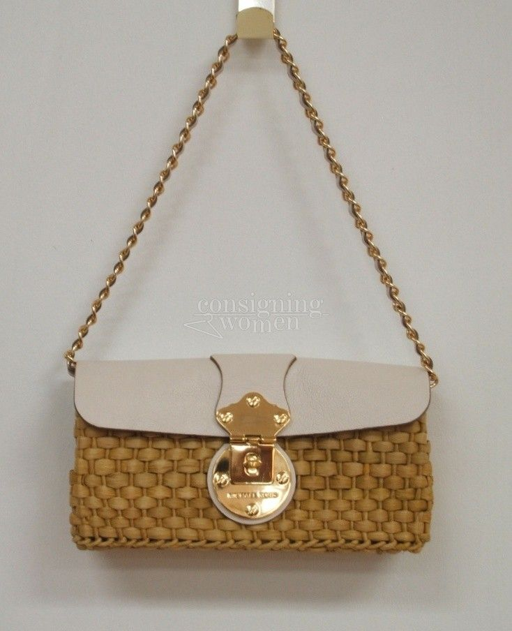 Michael Kors straw   leather Santorini clutch bag. SOLD  de60ee9c6650c