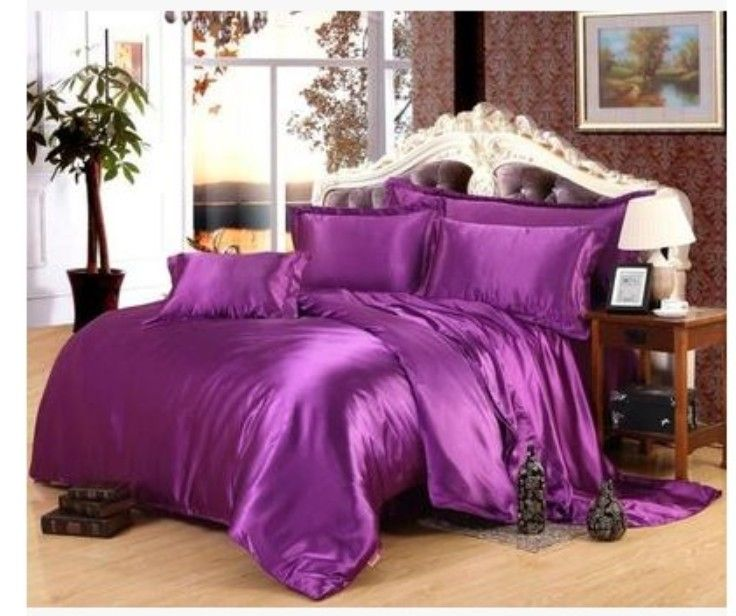 Purple Luxury Silk satin bedding sets super king size queen full twin quilt duvet cover fitted bed sheet double bedspreads 6pcs