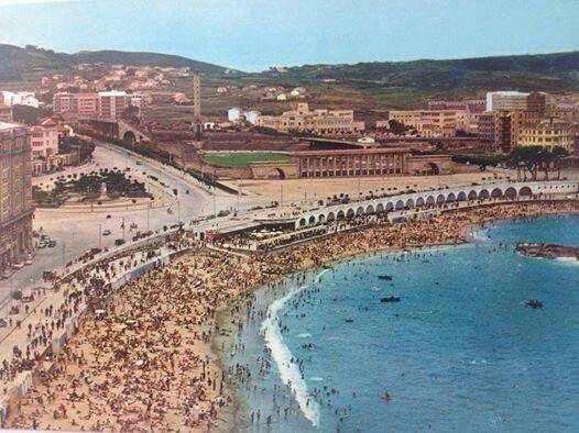 Playa y Estadio de Riazor, 1960. A Coruña. Galicia. Spain.