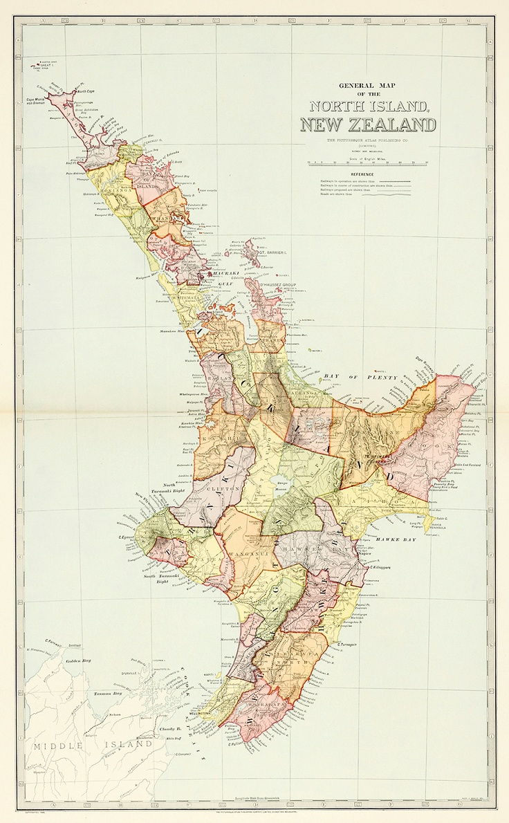 Australia C1888 Map of New Zealand North Island Original Scally 09 | eBay