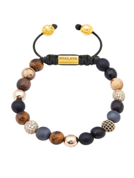Nialaya Beaded Wristband with White Pearl and Gold Buddha - Extra Small 2Y7YVO