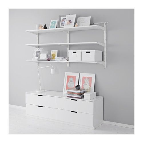 IKEA - ALGOT, Wall upright/shelves, The parts in the ALGOT series can be combined in many different ways and so can easily be adapted to needs and space.Can also be used in bathrooms and other damp areas indoors.You click the brackets into the ALGOT wall uprights wherever you want to have a shelf or accessory – no tools needed.