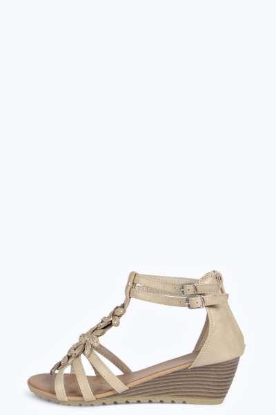 Sarah Floral Trim Demi Wedge Sandals at boohoo.com
