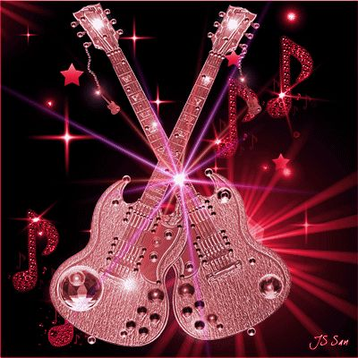 Animated Electric Guitars music girl pink guitar gif illustration rock n roll i love rock n roll
