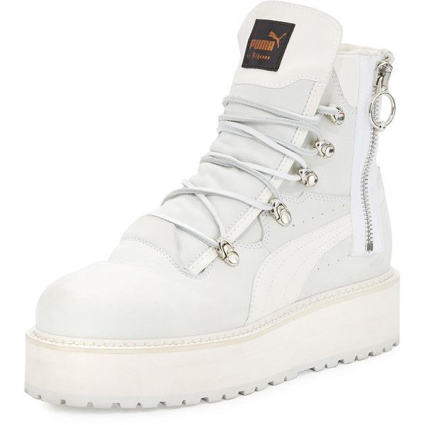 Fenty Puma By Rihanna Leather Platform Sneaker Boot ($325) ❤ liked on Polyvore featuring shoes, boots, white, lug sole platform boots, lace up shoes, laced up boots, puma boots and real leather boots