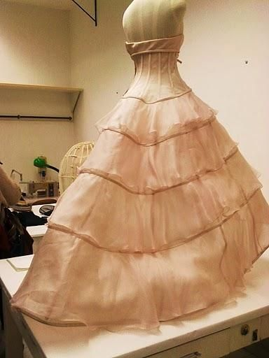 Haute Couture - dressmaking, behind the scenes at Valentino atelier in Rome - fashion design; the making of a dress