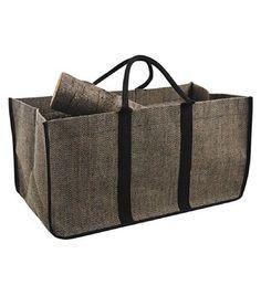 Panier sac à bûches en jute plastifiée Aubry Gaspard http://www.homelisty.com/range-buches-porte-buches-design/