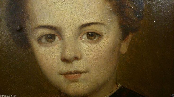 Joli Portrait Fin XIX° huile sur Panneau Tableau Ancien Anonyme a identifier in Art, antiquités, Art du XIXème, et avant, Peintures, émaux | eBay