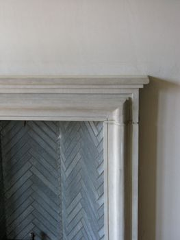 Skinny Slate herringbone tile in the firebox...