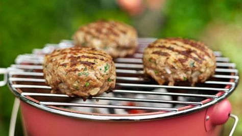 These tasty burgers with a quick tomato relish are perfect for the barbecue, serve with pittas or burger buns.