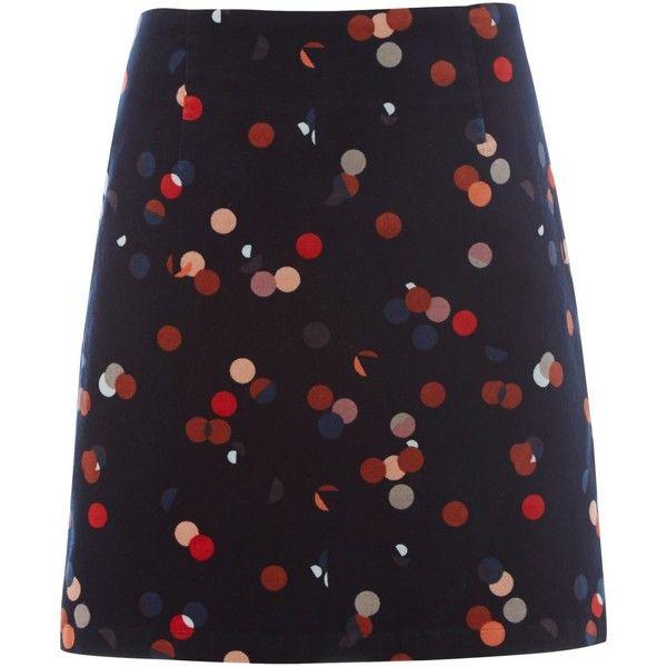 White Stuff Lena Print Velvet Mini Skirt (990 ZAR) ❤ liked on Polyvore featuring skirts, mini skirts, bottoms, print skirt, polka dot mini skirt, a line mini skirt, short skirts and mini skirt