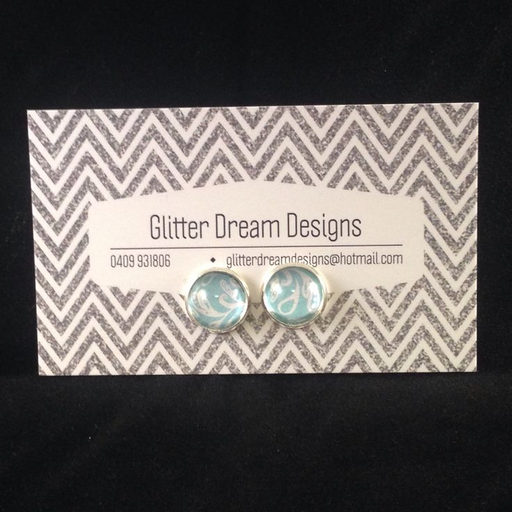 Order Code B5 Blue Cabochon Earrings