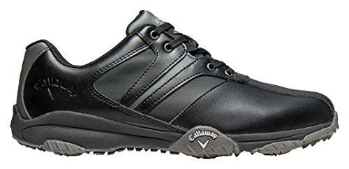 Mens Golf Shoes Idea | 2016 Callaway Chev Comfort II Leather Upper Water Resistant Mens Golf Shoes Black 105UK -- Click image for more details.(It is Amazon affiliate link) #l4l #golfshoes
