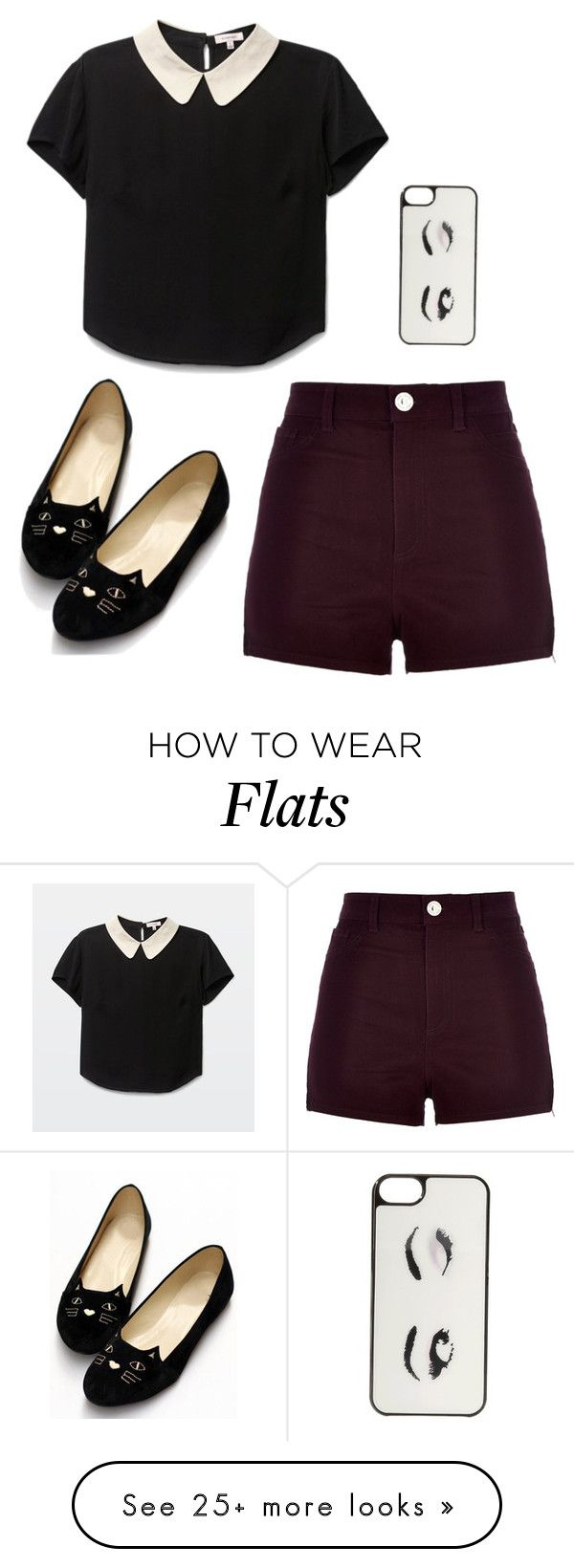 """""""Untitled #37"""" by buster-bess-brownie on Polyvore featuring River Island, Kate Spade, croptop, shorts, maroon, cats and iphonecase"""