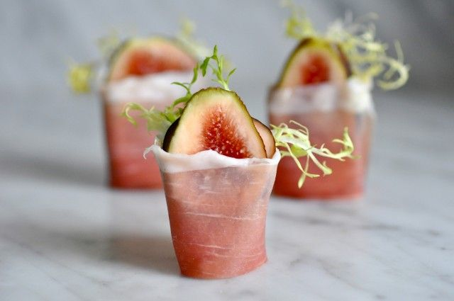 figs wrapped in prosciutto with frisée and lemon mascarpone