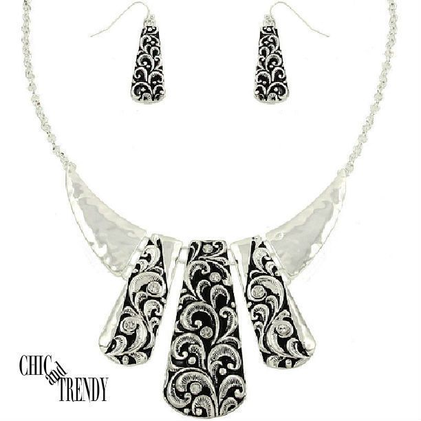 DESIGNER INSPIRED CHUNKY SILVER NECKLACE JEWELRY SET CHIC AND TRENDY ACCESSORIES #Unbranded