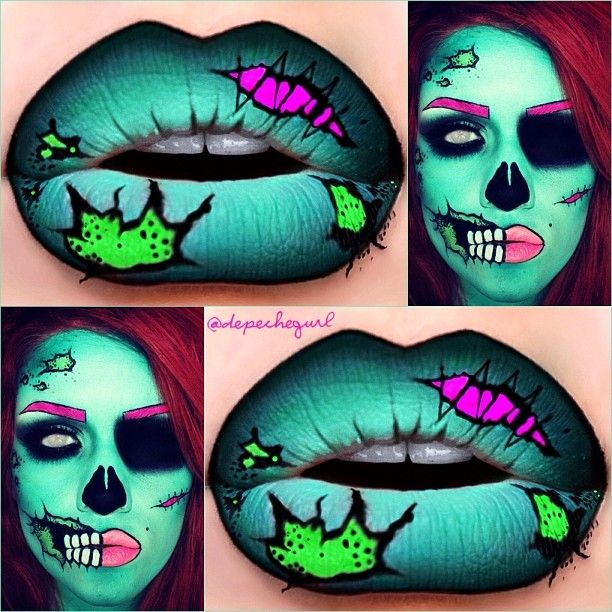 Makeup  Green Zombies Makeup  Lips Art  Art Pop Makeup  Pop Art MakeupPop Art Zombie Makeup