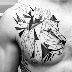 Geometrical Black Ink Lines Guys Triangular Chest Tattoo Of Lion Head