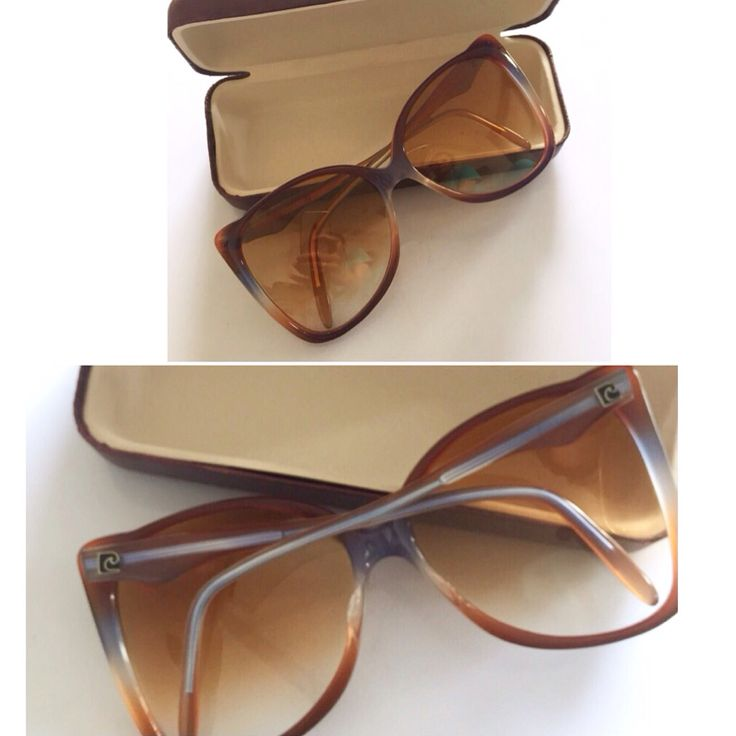 Beating the heat with these super stylish vintage Pierre Cardin brown bumblebee sunnies! Love