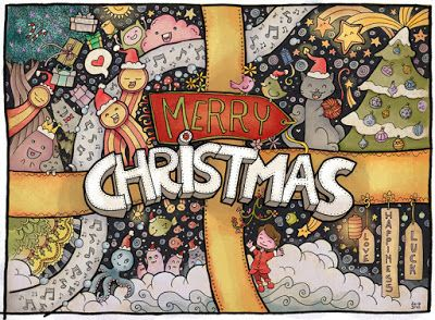Merry christmas greetings card doodle