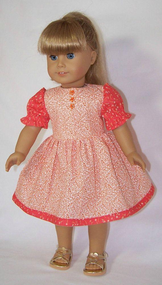 American Girl Doll Orange Delight Dress by SewDollyCute on Etsy, $12.00