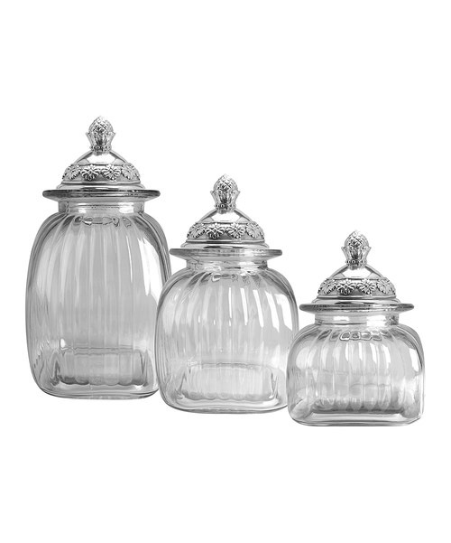 17 best images about canisters on pinterest pewter set of and stay fresh for Kitchen set elegant