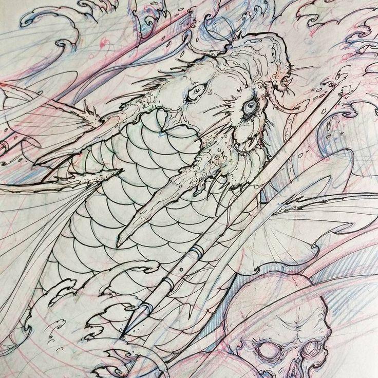 Best 20 koi dragon tattoo ideas on pinterest dragon koi fish koi dragon and japanese dragon - Dessin dragon japonais ...