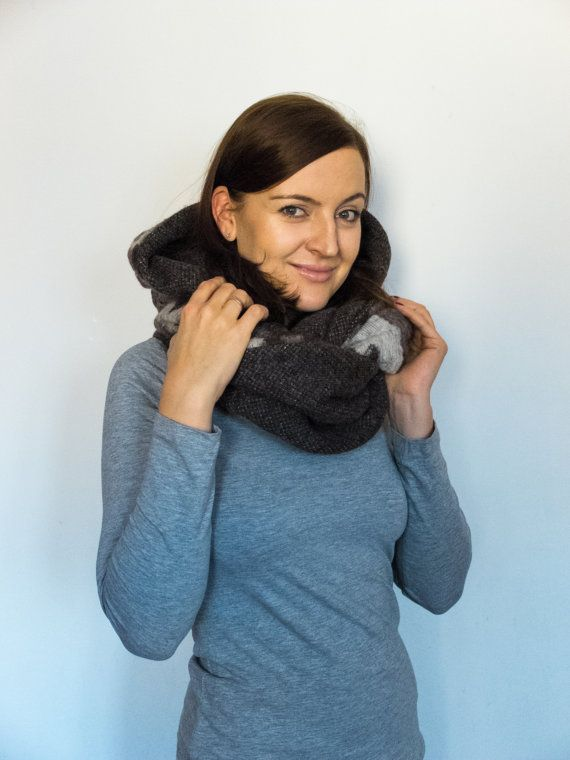 Wool hooded scarf animal cowl women winter scarf by Jousilook