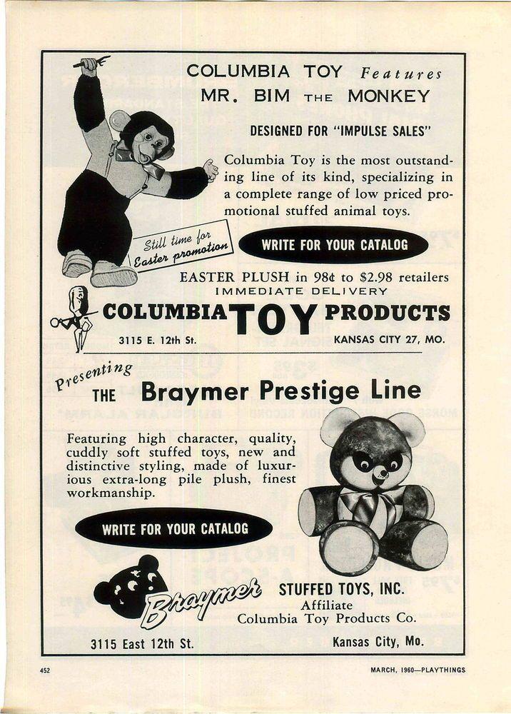 1960 ADVERT Columbia Toy Mr Bim The Monkey Brumberger Dial Phone Telephone Bank