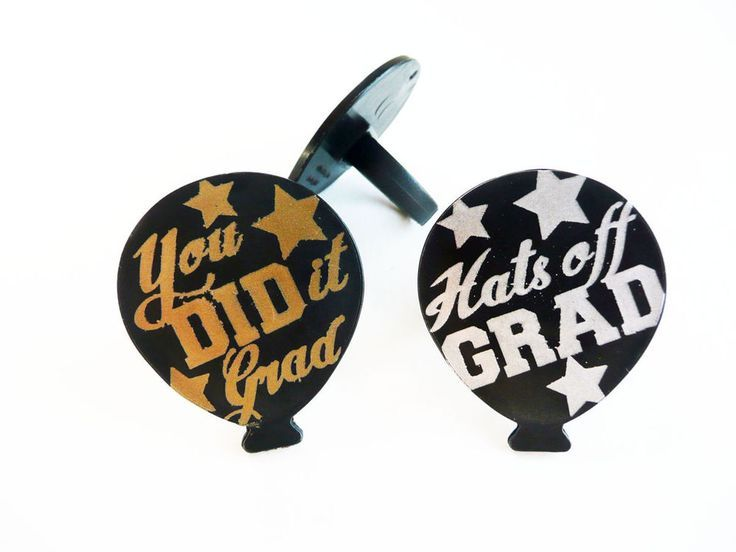 Graduation Balloon Cupcake Rings Cake Toppers Decorations Party Favors 24  #Balloon #cake #cupcake #decorations #favors