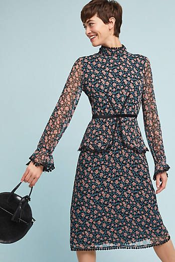 Anna Sui High Neck Silk Dress