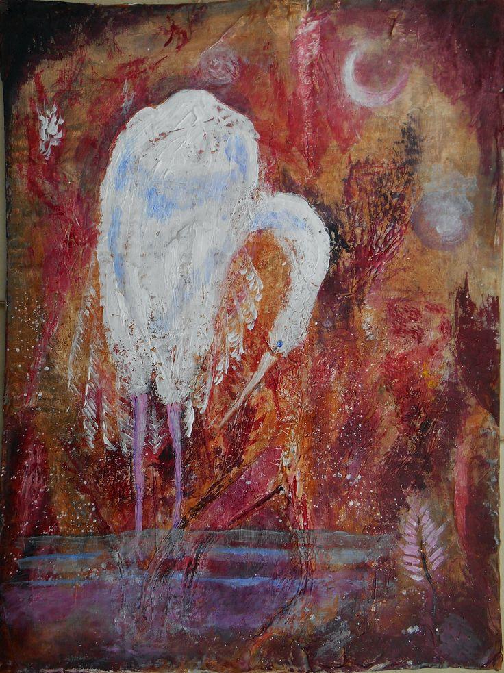 heron - airone. painting by Eva Danese