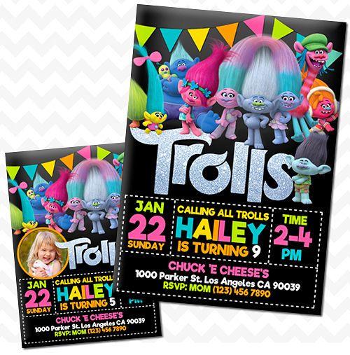 Trolls Movie Invitation, Birthday - Printed, Pack of 24 pcs or You Print #Personalized #BirthdayChild