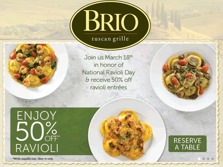 Pinned March 12th: 50% off ravioli entrees Wednesday at #Brio Tuscan Grille #coupon via The #Coupons App