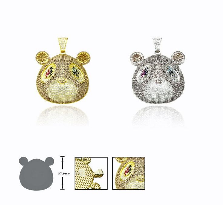 Kanye West college dropout bear pendant with Rope chain necklace in Gold