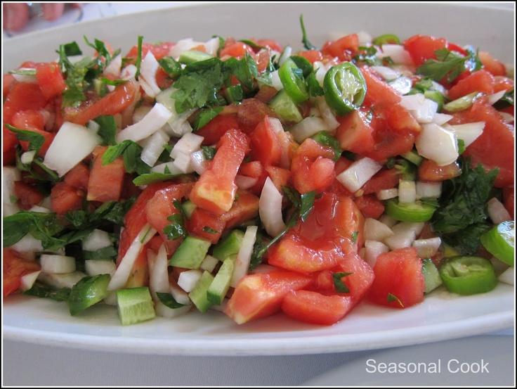Çoban Salatası - Turkish Shepherd's Salad-a mixed salad of tomato, cucumber, onion, green peppers, and parsley.