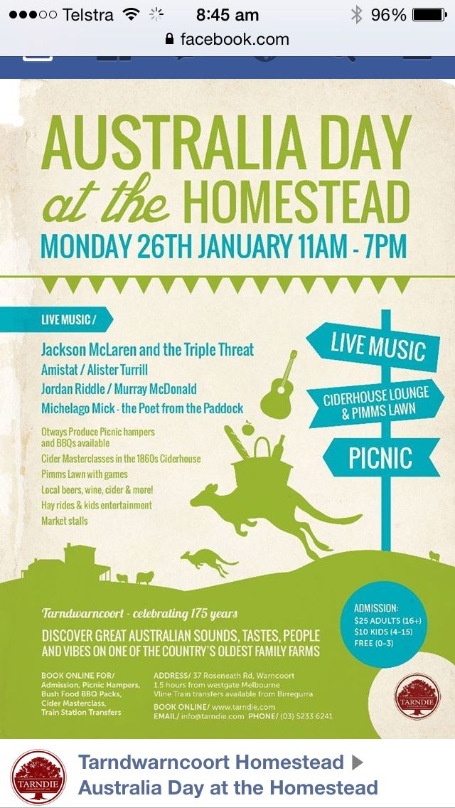 Australia Day at the Homestead.  Live music, Pimms lawn bar, cider master classes, kids activities & more.   Www.tarndie.com
