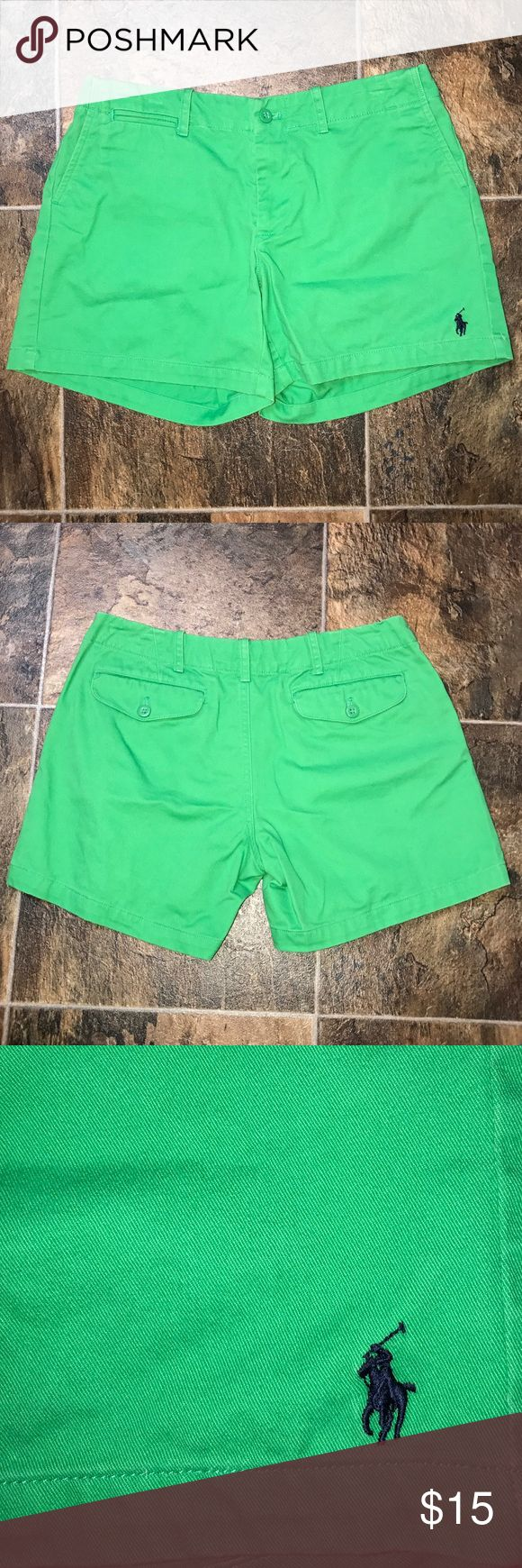 "Women's Green Ralph Lauren Shorts These are in really good worn condition. They are 12 1/2"" from the top of the waist band to the bottom of the leg. They have two ""mock"" pockets on the front and 2 pockets with button flaps on the back. They are 100% cotton and have the Ralph Lauren symbol on the front of the left leg. They are a darker shade of lime green. Ralph Lauren Shorts"