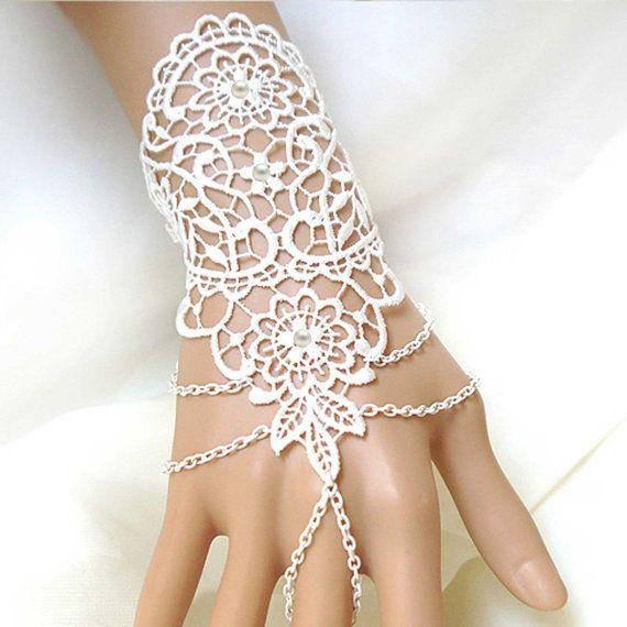 1 Stück - weiß Fingerless Armband, Slave-Armband, Strass Armband, Pearl, Hochzeit Armband, Hochzeit, Braut, Fingerless Spitze, Handschuhe DIY
