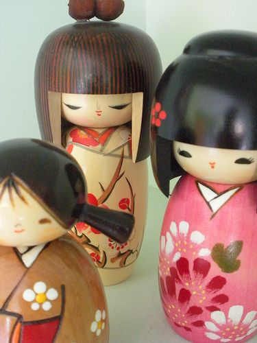 Cute Japanese kokeshi dolls