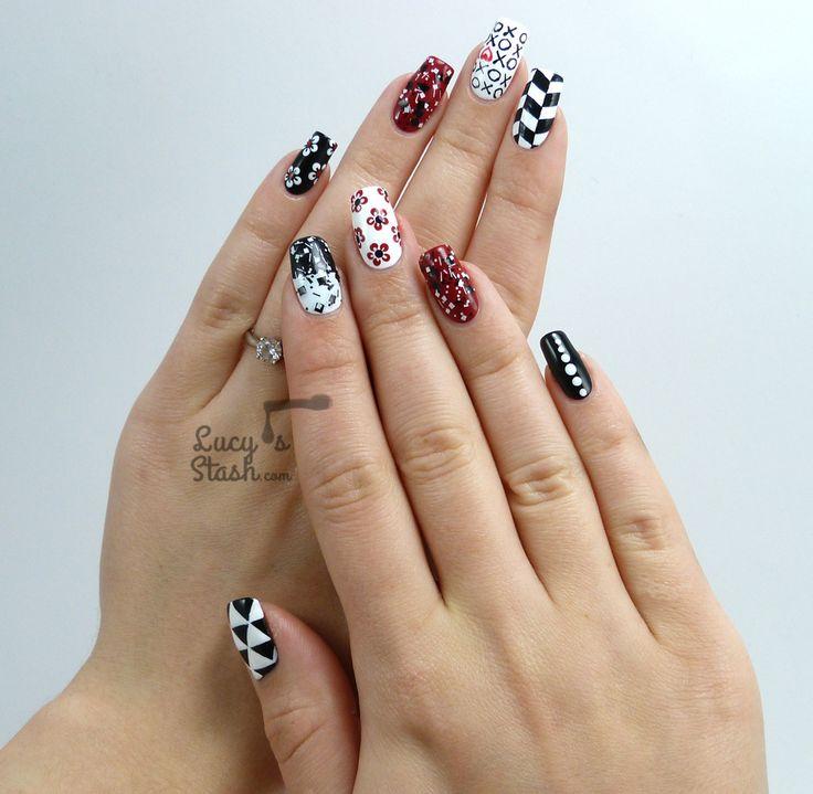 beautiful black white nails