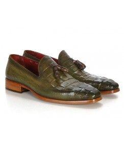 Patina Crocodile Embossed Calfskin  Tassel Loafers
