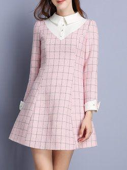 Long Sleeve Elegant Checkered/Plaid Mini Dress