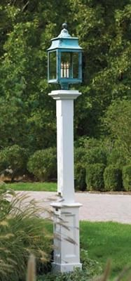 """Hammond Lantern Post - Our classic Hammond Post features four recessed panels on a 8 1/2"""" sq., 30 1/2"""" H, boxed base. The 5 1/2"""" sq. post includes decorative cap with collar. 77 1/2"""" H. Pre-finished white. Shipped kit. Shown with a Montgomery lantern."""