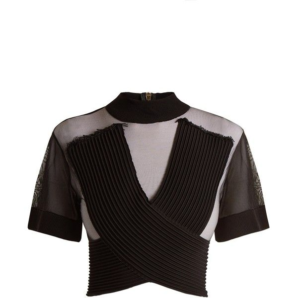 Balmain Sheer crossover-front tulle cropped top (€1.095) ❤ liked on Polyvore featuring tops, cross over crop top, short sleeve crop top, sheer crop tops, ribbed top and short sleeve tops