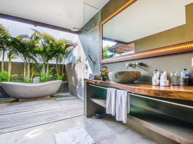 Villa Yoga | 7 bedrooms with 5, 6, 7 rental option | Seminyak, Bali #openair #bathroom #modern #villa #interior #bali #holiday #yoga #family #friends #retreat