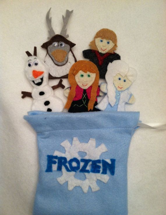 Set of 5 hand sewn felt finger puppets (Anna, Elsa, Kristoff, Sven, and Olaf inspired) and coordinating felt drawstring storage pouch. Makes a
